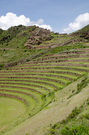 Agricultural terraces beneath the Inca ruins of Pisac, Peru