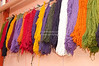 Colorful Alpaca and Sheep wool hanging to get dry. All these colors were created using natureal, plant based colorants