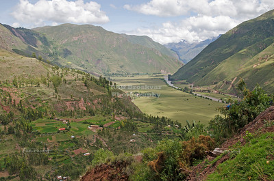 View into Urubamba valley, the Sacred Valley of the Incas, Peru