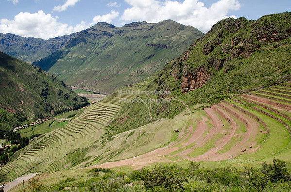 Agricultural terraces at the Inca ruins of Pisac with a view down to the Sacred Valley, Peru