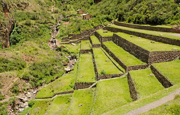 Agricultural terraces at the ancient Inca site Pisac, Peru