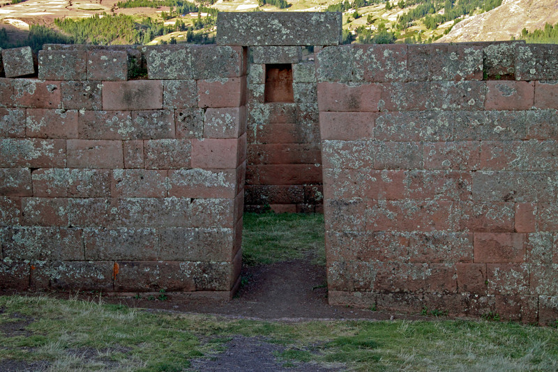 Pisac 3876<br /> Door going into one of the ceremonial houses next to the Temple of the sun in the ruins at Pisac.