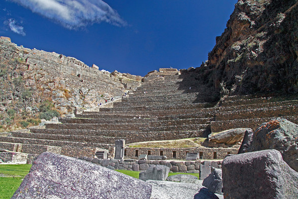 Ollantaytambo 4313<br /> In the Mid 15th Century the Inca Emperor Pachacuti created his royal estate at Ollantaytambo. It became a main defensive structure against other tribes from the rain forest. The walled complex also contained a temple to the sun.