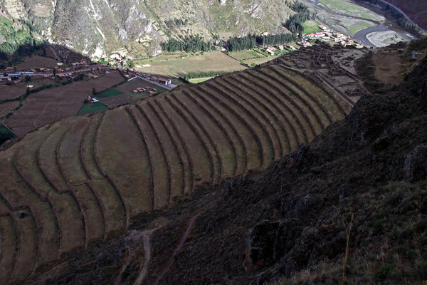 Pisac 3842<br /> Farming Terraces with the Village of Pisac 1700 feet below.