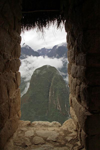 Caretaker's hut 4791<br /> Looking through the window at the Caretaker's hut at Machu Picchu.