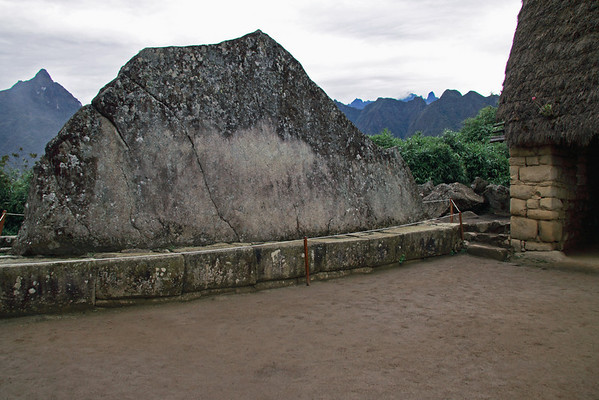 "Sacred Rock 4956<br /> Located at the very end of Machu Picchu, just before you go on the trail to Huayna Picchu. Sacrifices were made at this rock before the Incas went up Huayna Picchu. Also known as Echo Rock, as it ""echos"" the form of the Mountain behind it."
