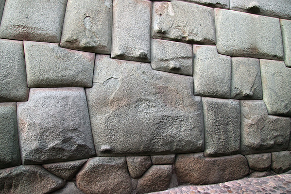 Inca Wall 3473<br /> Wall built by the Incas in Cusco. The one large stone had tweleve corners. These rocks were carved and set in place by the incas. The tweleve corners represents the Inca Calander which has tweleve months.