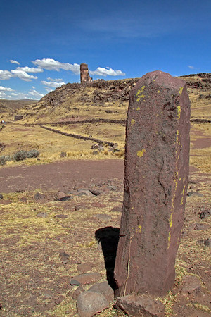 Sillustani 5785<br /> Religious stones can be found below the hill with the towers.