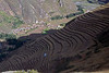 Pisac 3815<br /> Agricultural terraces with Pisac 1700 feet below in the Urubamba Valley.