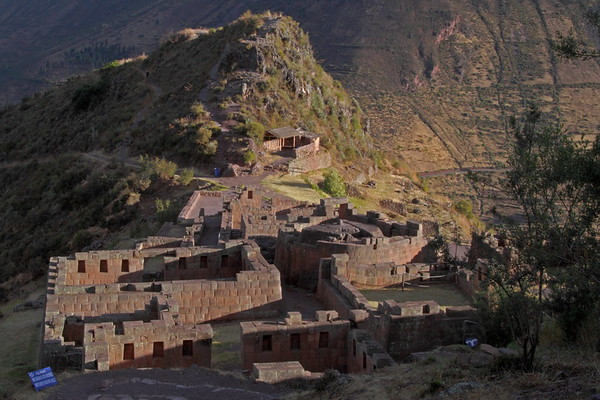 Pisac 3858<br /> The religious center of the ruins. The Temple of the Sun is on the right middle of the picture. The town has an elevation of 9500 feet. The trail to the ruins is about 2.5 miles long and gains 1700 feet. You can take a cab or bus to the top and then walk down. The trail is pretty steep and you have over 3500 steps along the trail to help.