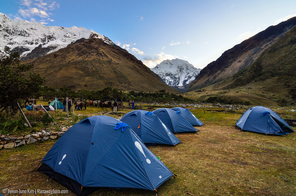 Camping in the most beautiful camping site, on the way to Salkantay Trek to Machu Picchu.
