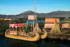 Titticaca 5607<br /> Uros Boat made from Totora reeds. Islands and boats have elevated lookout towers, at one time used to keep an eye out for enemies, now for tourists. The houses, boats and islands are all made from the Totora reeds.