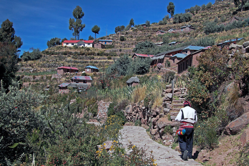 Titicaca 5387<br /> The trail from Port Alsuno going to the top of Taquile island. The Island is about 3.4 miles long and almost a mile wide at the widest point. The highest point is 787 feet above the lake.