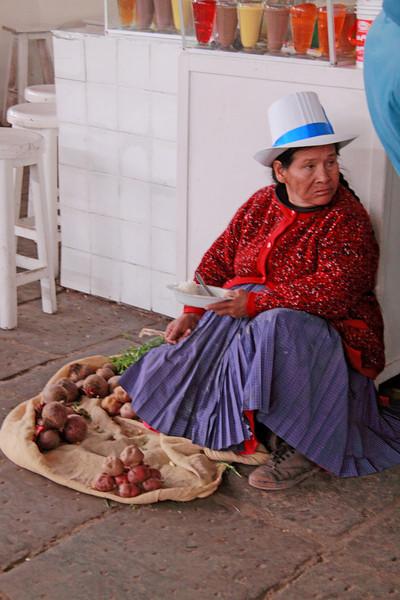 Cusco 5050<br /> Vendor selling potatoes at Cusco Market
