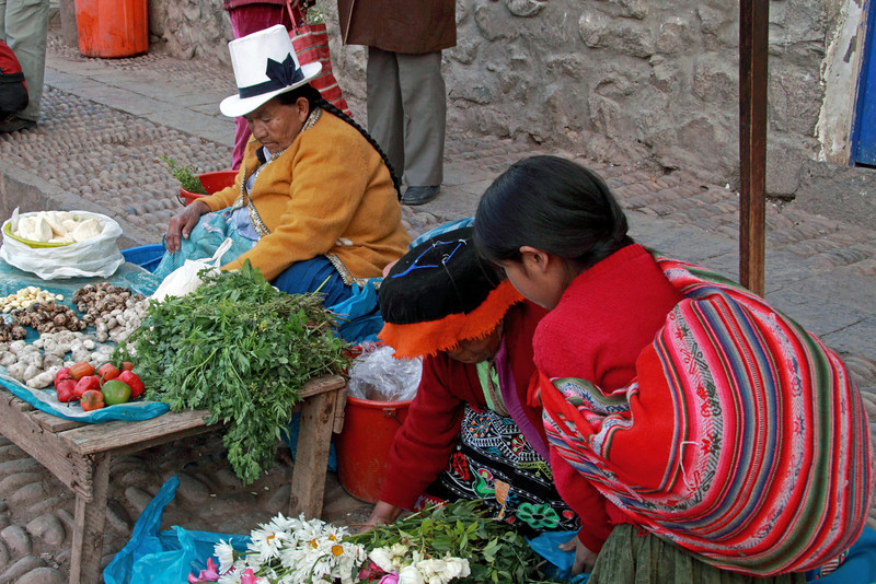 Pisac 3945<br /> Vender at the open air market in Pisac.