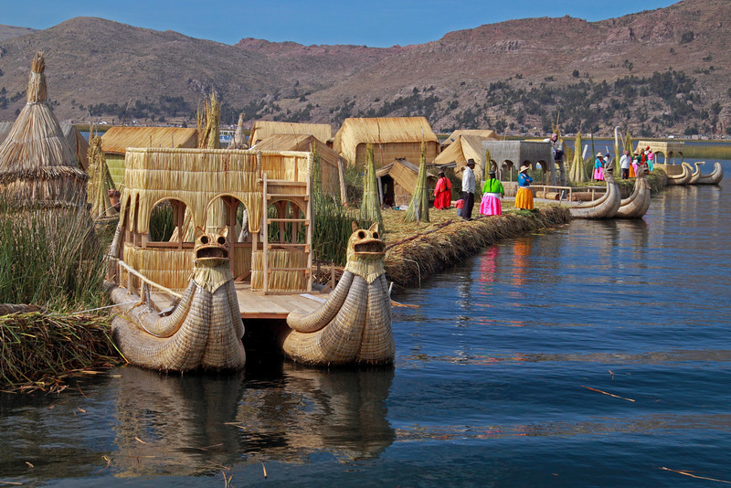Titticaca 5714<br /> The people are always working on the islands and gathering Totora reeds for needed repairs of the islands.