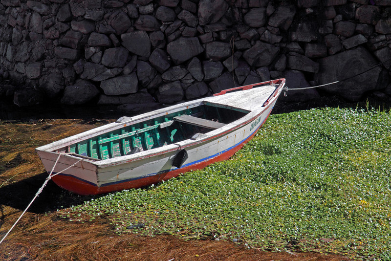 Titicaca 5498<br /> Boat tied up at Port Alsuno on Taquile Island
