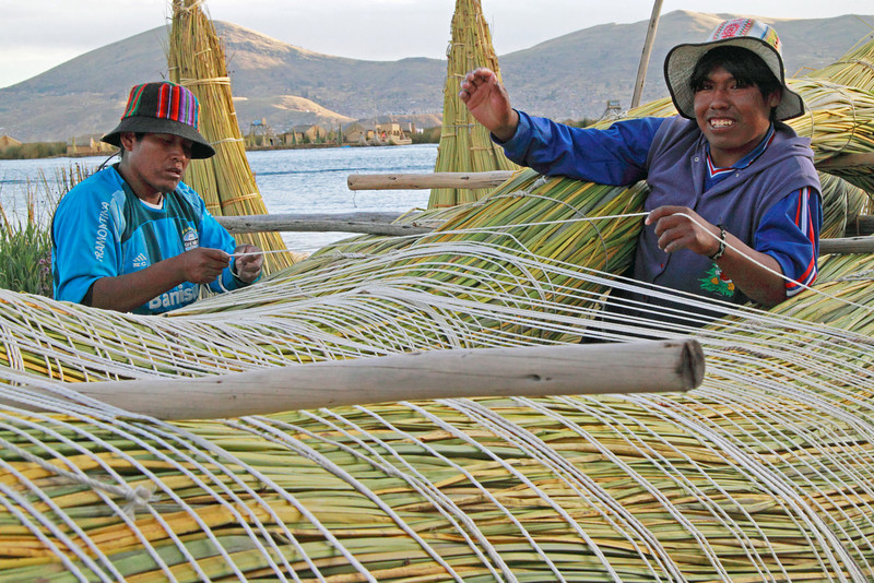 Titicaca 5536<br /> Building a Uros boat out of totora reeds.