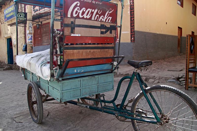 Ollantaytambo 4425<br /> Bike in plaza in Ollantaytambo.