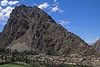 Ollantaytambo 4364<br /> Village of Ollantaytambo with Storage houses and Grainery on side of Mountain.