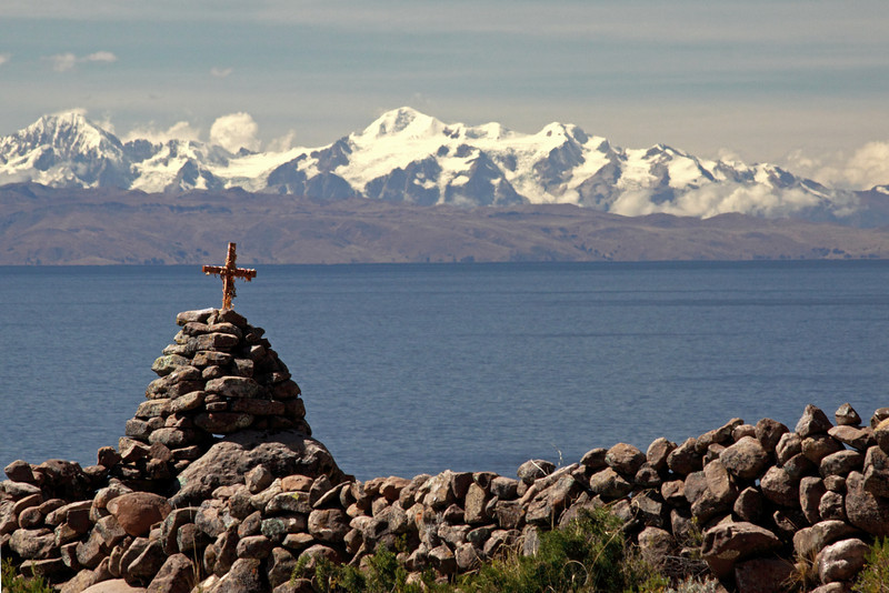 Titicaca 5354<br /> Looking out over Lake Titicaca with the Andes Mts. in the background from Taquile Island.