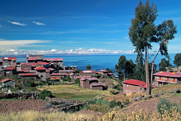 Titicaca 5471<br /> Overlooking Lake Titicaca from Taquile Island. The island is 3.4 mile long by almost a mile wide and is 787 feet above the lake. The incas living on the Island were the last of the Inca Empire to be conquered by the Spainish in the 15th Century.