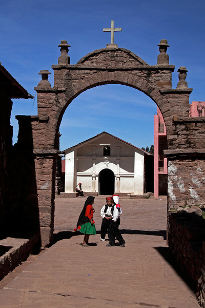 Titicaca 5430<br /> Archway going into the village on Taquile Island. There are about 1,700 residents on the island..