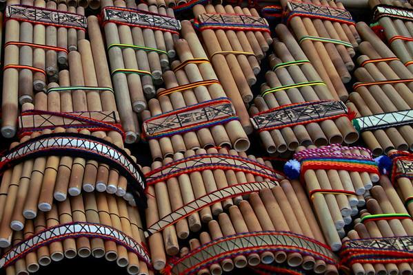 Pisac 3985<br /> Peruvian Flutes at the Pisac Market