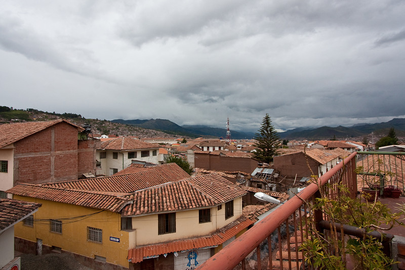 View of Cuzco and the surrounding mountains from our 4th floor balcony. Cuzco is at an elevation of 10,900ft.
