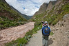 The Urubamba River to our left. We are coming up to the first checkpoint where they check and stamp our passports. Access to the Inca Trail is highly regulated. You must have a permit and be with a guide.