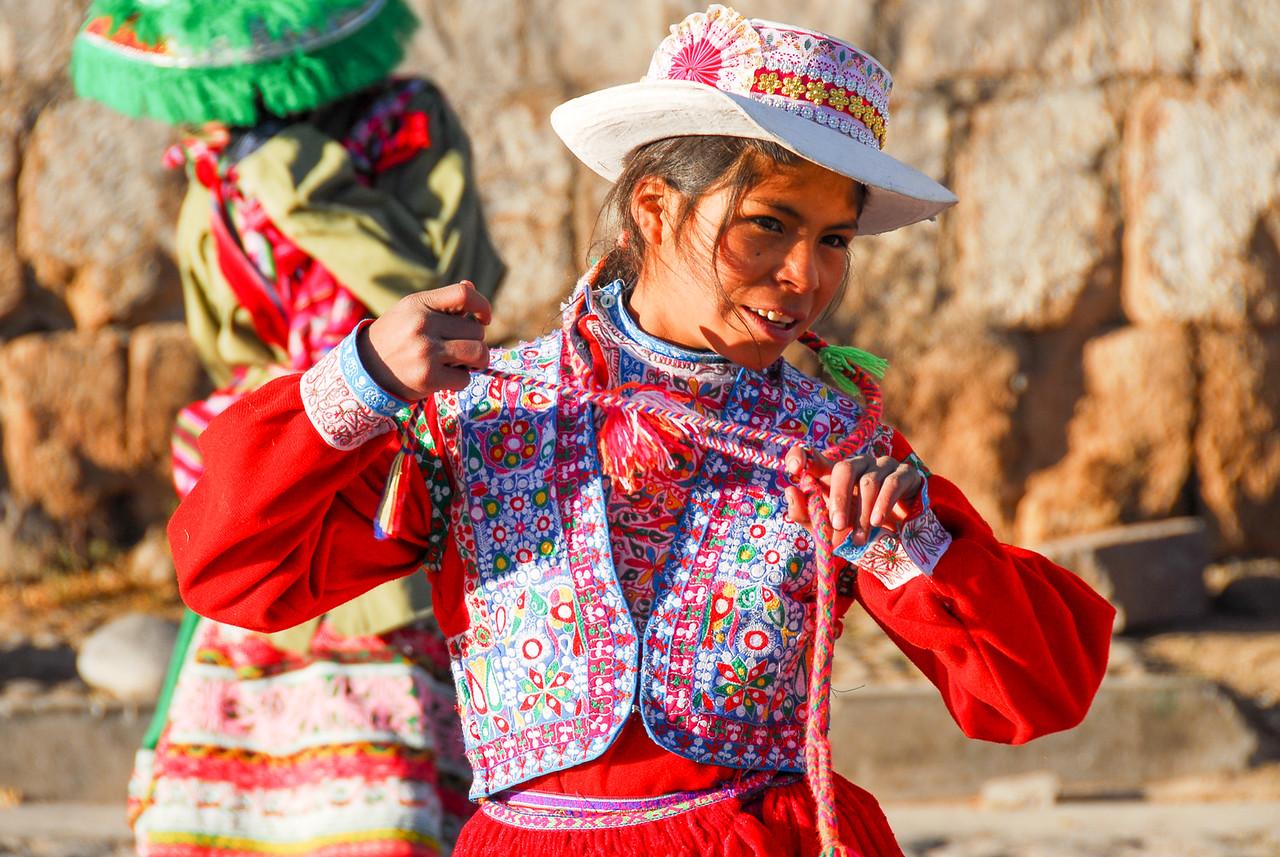 Peruvian Girl Dancing in Traditional Dress