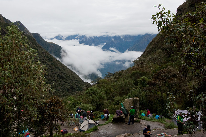 The clouds and fog opened up a bit the next morning to show us the valley we camped in.