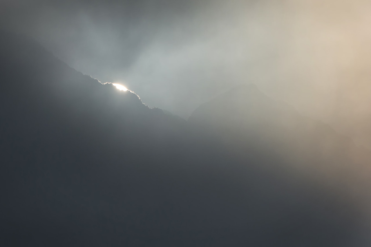 First touch of sunlight over Machu Picchu