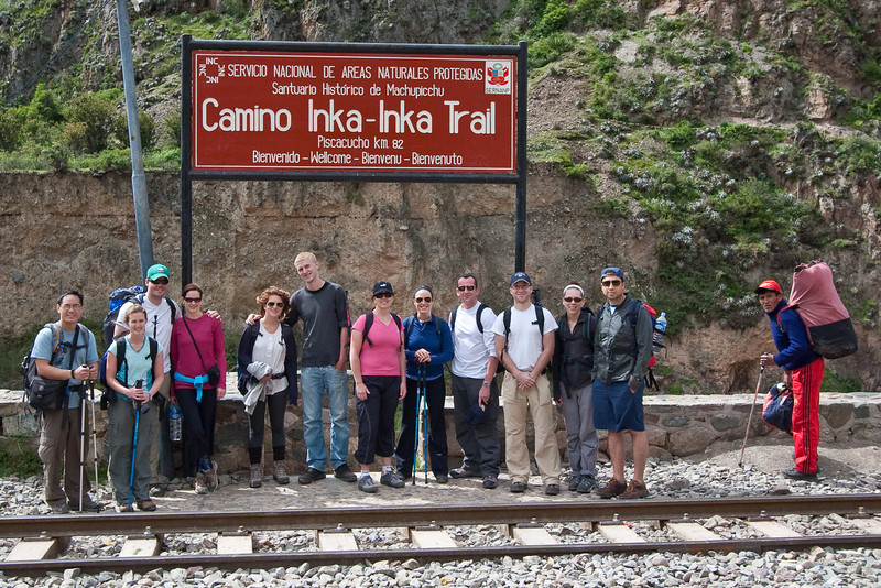 Our group at the start of our trek on the Inca Trail. One of our porters on the right, the others had already gone ahead.