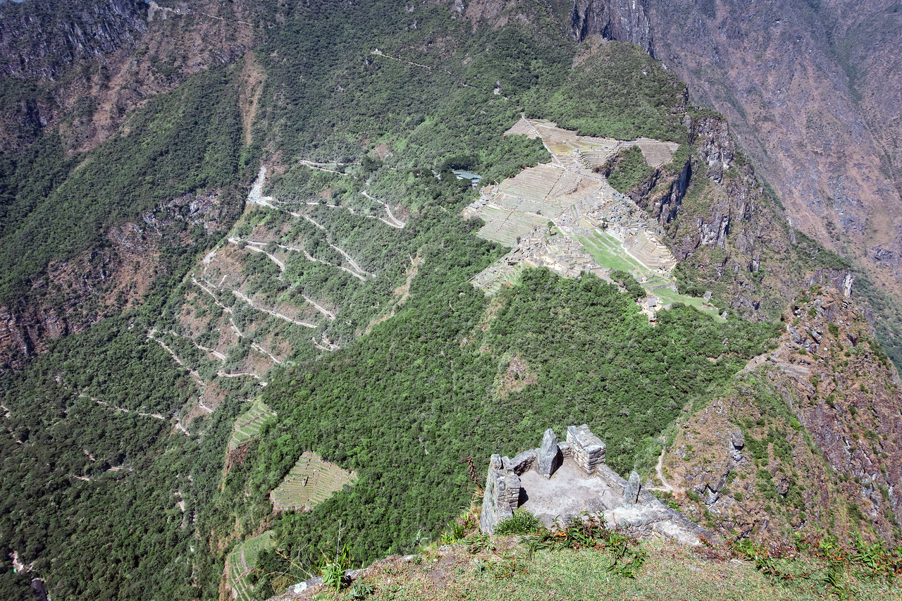 View of Machu Picchu and the switchbacks for buses.  Shot taken from top of Huayna Picchu after a very rough hike.