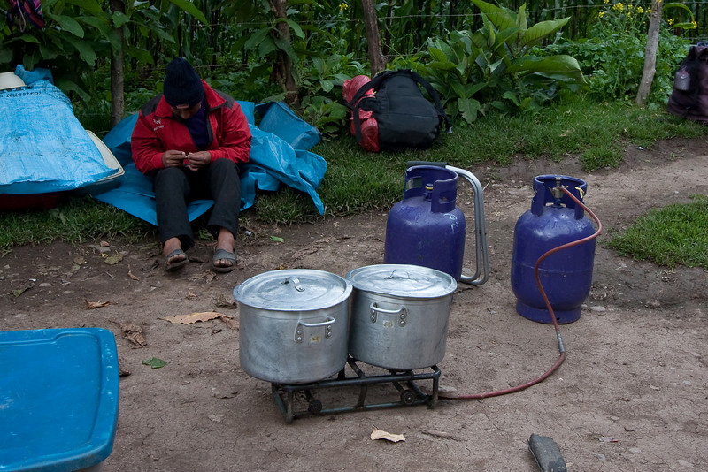 Another impressive display of the abilities of the porters. They didn't bring some portable lightweight stove to cook the meals, they actually carried up two large propane tanks and large pots and burners. Crazy.