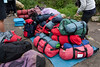 These were the duffels that we each got to put 13kg (6lbs) of our personal belongings into for the porters to carry. They were pretty strict about not going over that weight which also included your sleeping bag and pad. Every morning we would pack our duffels and pile them up for the porters to divvy up into their giant packs.