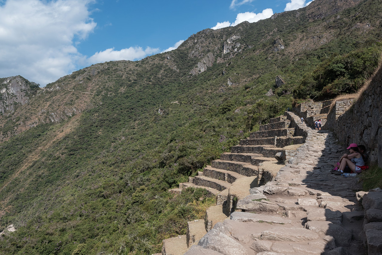Inca Trail at Machu Picchu as it winds up the mountain.  Only 52 more miles to Cusco.