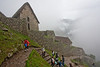 Heading down from the guard house to the main area of Machu Picchu.