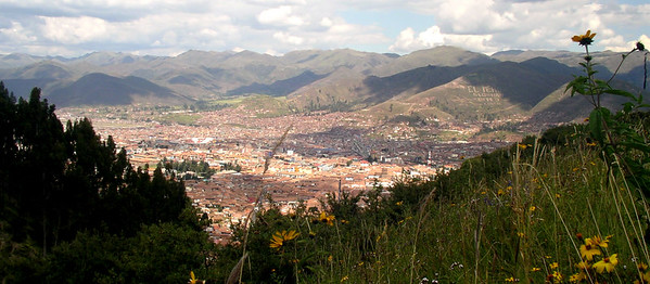 The city of Cuzco from the highlands above.
