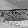 Restaurante sign on deserted building along Pan American Highway Peru