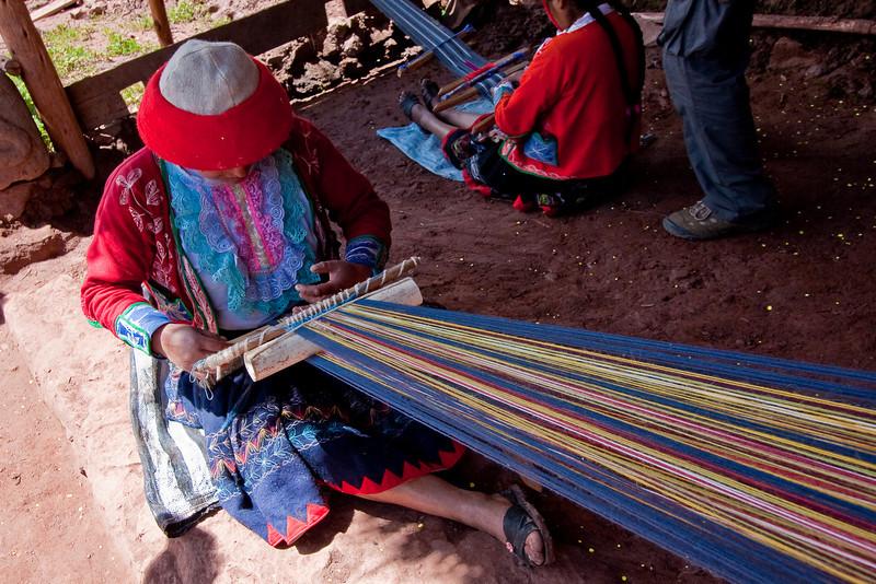 The weaving process.