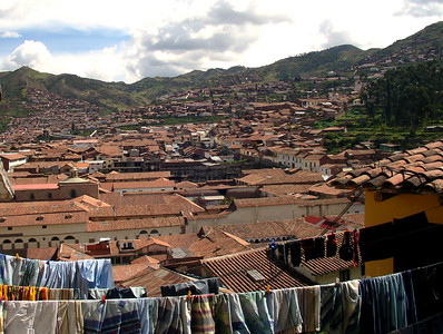 View of the city of Cuzco from the stairs of my first room at the Amauta Spanish School.