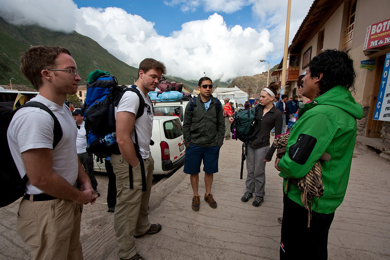 Day 2 of our Gap Adventures trip. Our group waiting to head over to the trailhead for our trek on the Inca trail. In the green jacket is one of our guides Cheo (Chay-O), not sure how you actually spell his name.