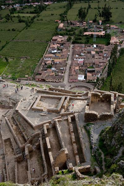 Ollantaytambo ruins from above.