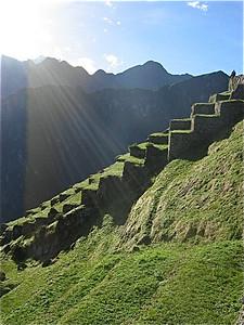 Incatrappen bij Machu Picchu, Peru.