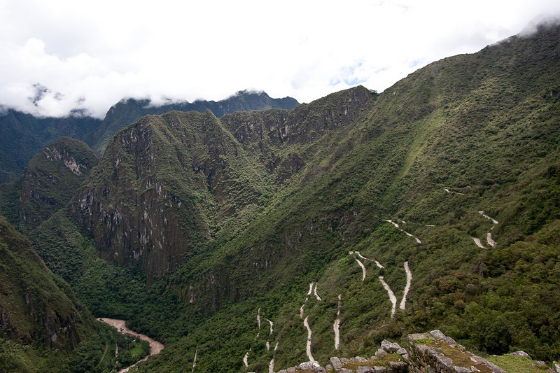 Here you can see the road that the buses travel to take you from Machu Picchu down to the town of Aquas Calientes, where we got on a train that took us back towards Cuzco. This road was not paved, but instead made of dirt and gravel and had alot of crazy hairpin turns.