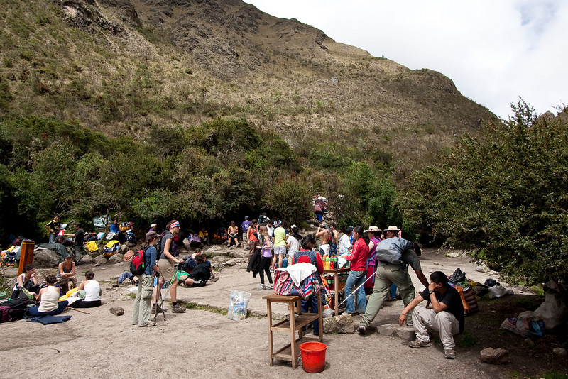 Even though you have to travel with a guide on the trail and they only issue so many permits per day, there were tons of other groups on the trail. There's another stand selling gatorade, water, snacks, and you would definitely pay the price for having access to that this far out.