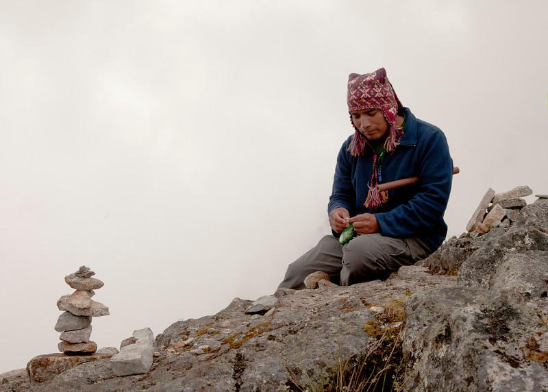 Inca Trail Day 3 - Second pass coca ceremony