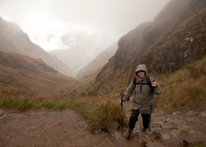 Inca Trail Day 2 - Jackie at the top